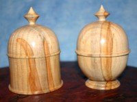 His and Hers Hoop Pine Boxes - This pair of lidded boxes were made from a piece of spalted Hoop Pine (A